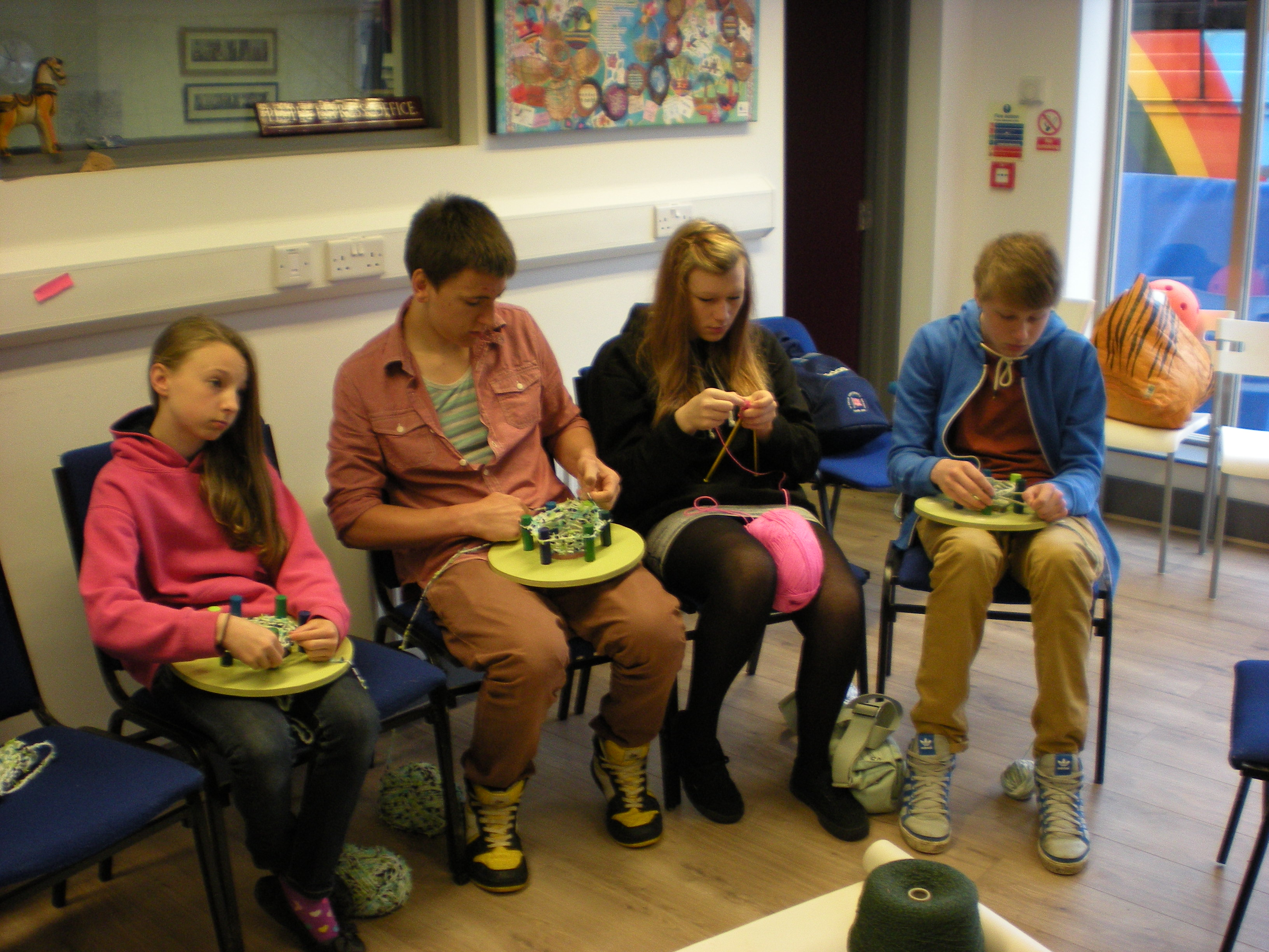 Group Of People Knitting : Moved permanently